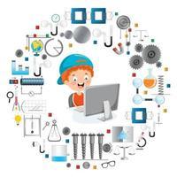 Little Happy Kid Using Technology vector