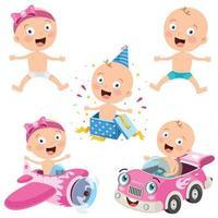 Various Poses Of Cartoon Baby vector