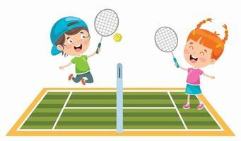 Cute Happy Kids Playing Tennis vector