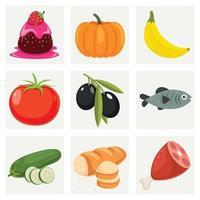 conjunto de varios alimentos frescos vector