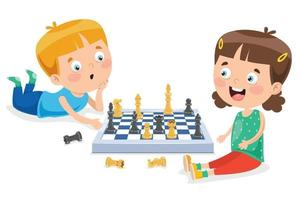 Cartoon Character Playing Chess Game vector