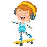Happy Little Children Skateboarding Outside vector