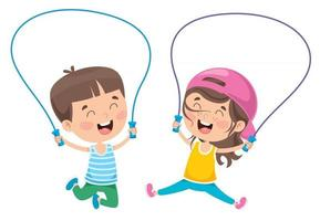 Little Happy Kid Skipping Rope vector