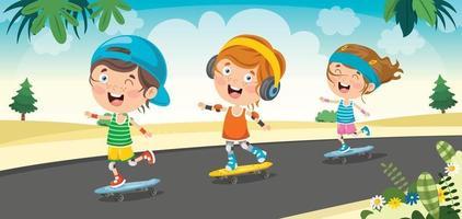 Happy Little Child Skateboarding Outside vector