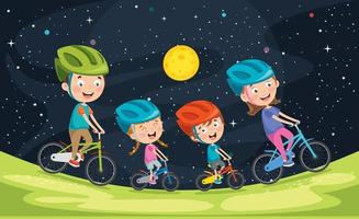 Happy Family Riding Bicycle Together vector
