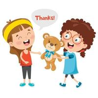 Thank You Illustration With Cartoon Characters vector