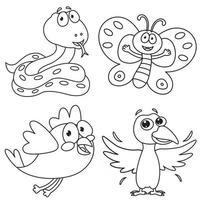 Coloring Page Of Cartoon Animals vector