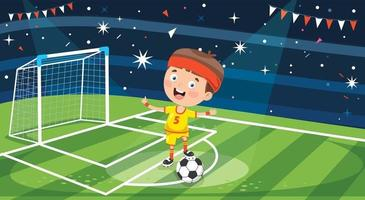 Little Child Playing Football Outdoor vector