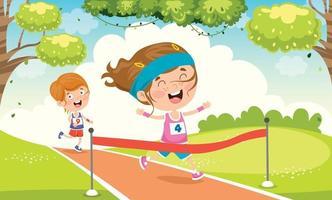 Funny Little Children Running Outside vector