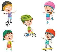 Happy Little Children Making Sport vector