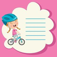 Template Design With Cute Cartoon Character Making Sport vector