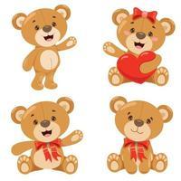 Various Poses Of Cartoon Teddy Bear vector