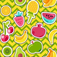 Tropical fruits, berries vector seamless pattern