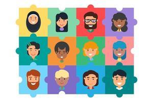 Diverse community team building puzzle concept vector