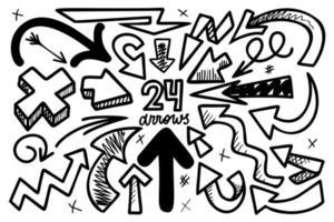 Hand drawn arrows vector illustration set