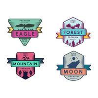 águila salvaje y montaña, luna y bosque set logo vector