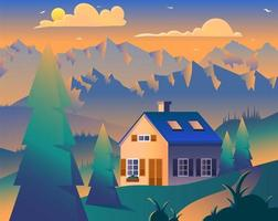 Cottage in coniferous forest minimal illustration vector