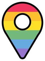 Rainbow map pointer lgbtqi color sticker vector