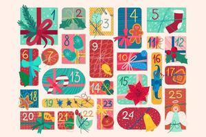 Calendario de Adviento festivo de diciembre ilustración vectorial plana vector