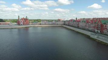 Embankment Bruges in Yoshkar-Ola. Russia, Republic of Mari El. Aerial summertime, sunny day video