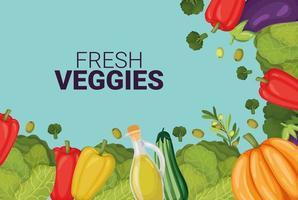 fresh veggies card vector