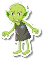 una plantilla de pegatina con un personaje de dibujos animados duende verde o troll vector