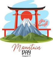 Mountain Day in Japan on August 11 banner with Mount Fuji and Torii Gate vector