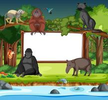 Blank banner with wild animal cartoon character in the forest scene vector