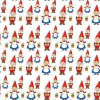 Gnome or dwarf seamless pattern with garden elements vector
