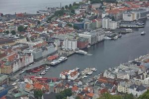 View of Bergen city from Mount Floyen, Norway photo