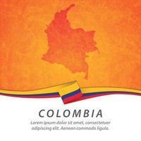 bandera de colombia con mapa vector