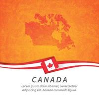 Canada flag with map vector