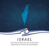 bandera de israel con mapa vector