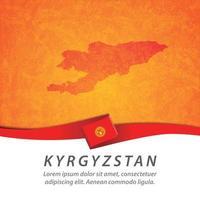 Kyrgyzstan flag with map vector