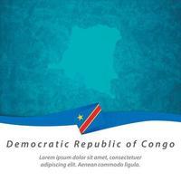 Democratic Republic of Congo flag with map vector
