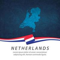 Netherlands flag with map vector