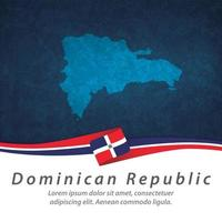 Dominican Republic flag with map vector