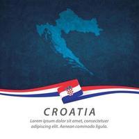 Croatia flag with map vector