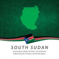 South Sudan flag with map vector