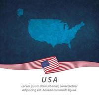 Usa flag with map vector