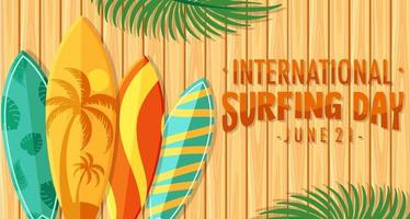 International Surfing Day font with many surfboards on wooden background vector