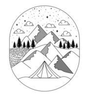 linda insignia de paisaje vector