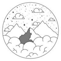 bonito paisaje insignia vector