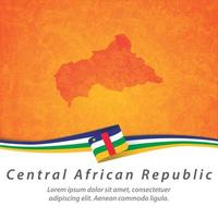 Central African Republic flag with map vector