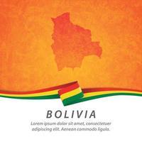 bandera de bolivia con mapa vector