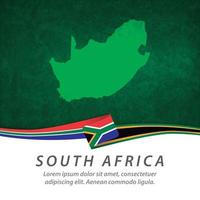 South Africa flag with map vector