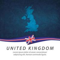 United Kingdom flag with map vector