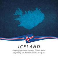 Iceland flag with map vector