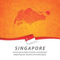 Singapore flag with map vector