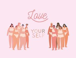 love yourself lettering vector
